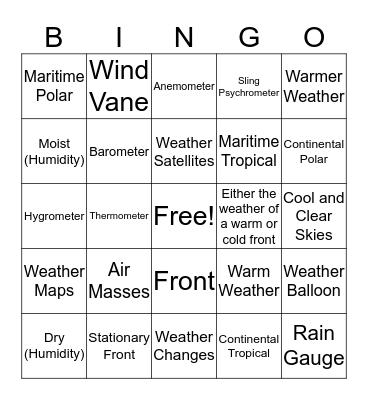 Weather vs. Climate Bingo Card