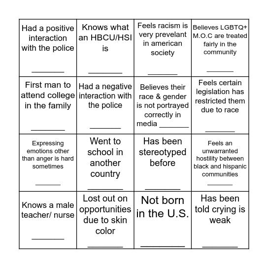Men of Color Bingo Card