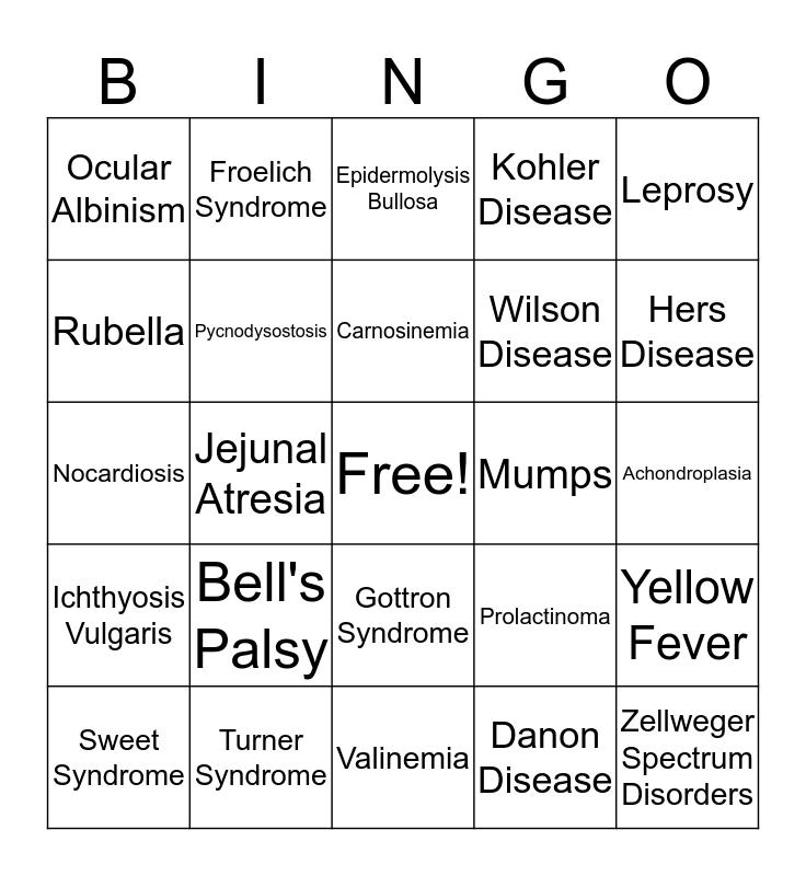 Rare Diseases Bingo Card