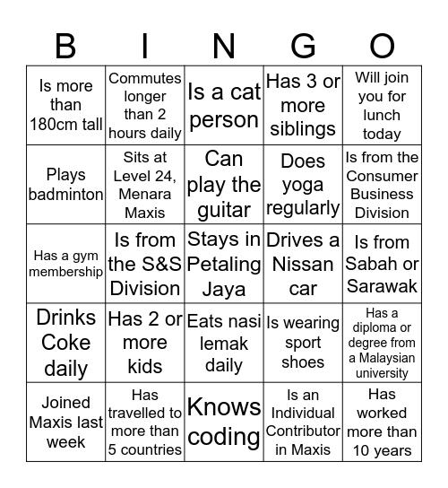 Culture Day 2020 Bingo Card