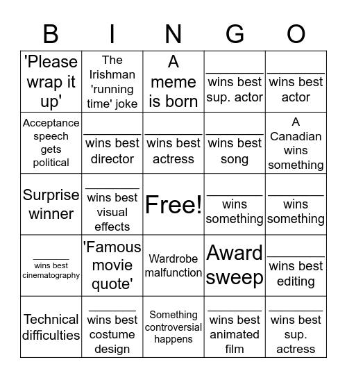 Oscars 2020 Bingo Card