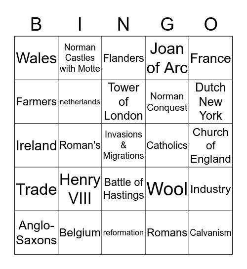 Invasions & Migrations Bingo Card