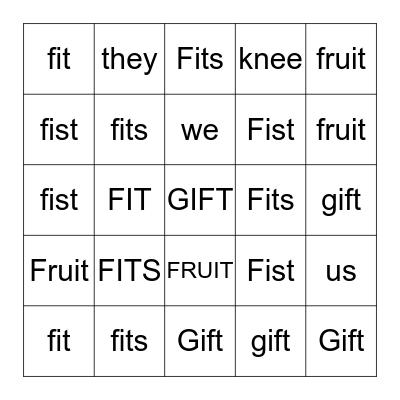 Word Wall 2/12/2020 Bingo Card