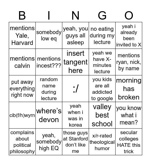 dr. yun bingo (revised) Bingo Card