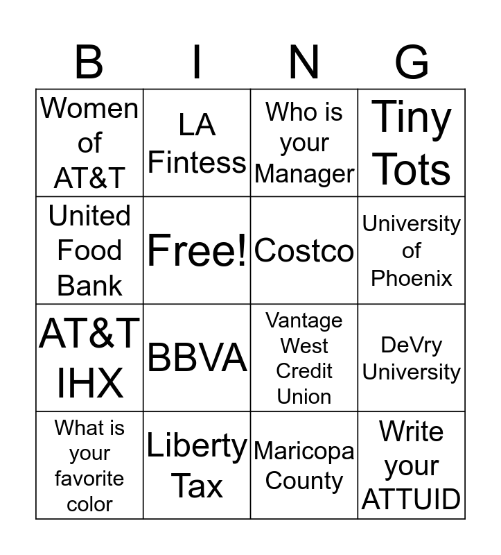 AT&T Partners Day Bingo Card