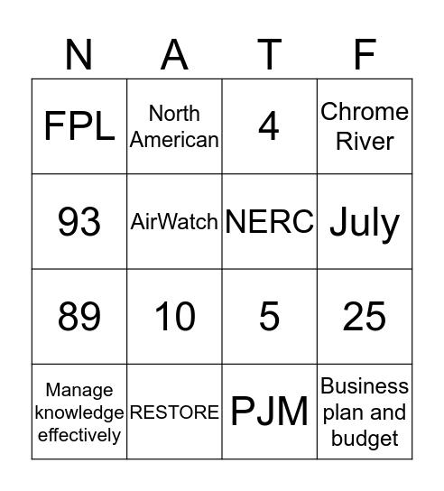 NATF Bingo Card