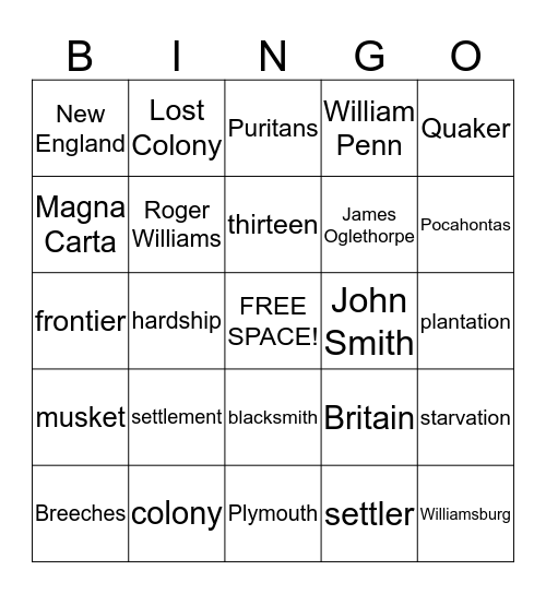 Early Colonial America Bingo Card