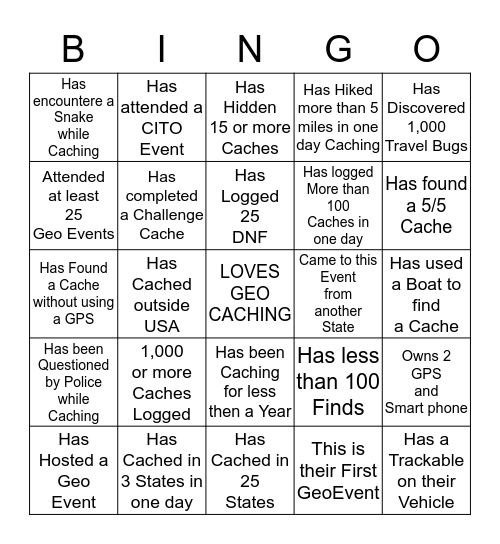 Geo BINGO-Mingle and Win! Bingo Card