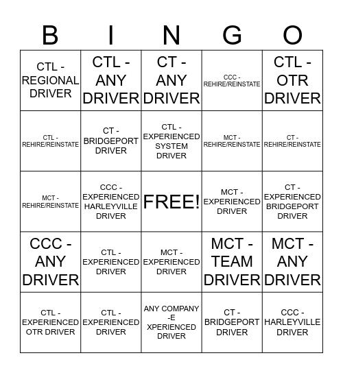 COMCAR DRIVER HIRING BINGO CHALLENGE Bingo Card