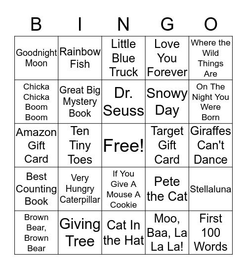 Baby Book/Gift Card Bingo Card