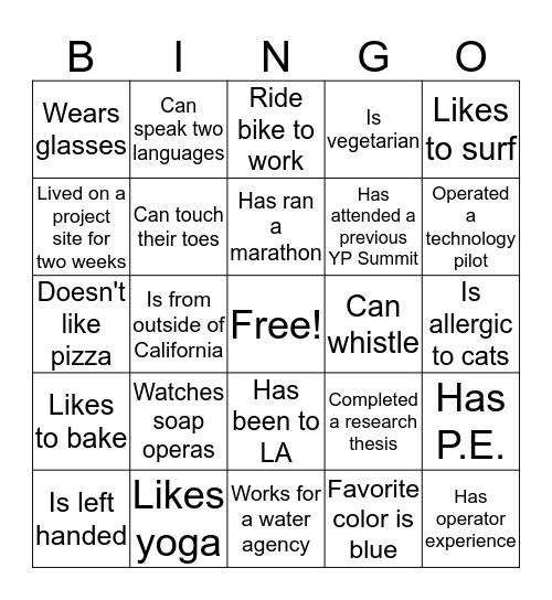 YP Summit Bingo Challenge! Bingo Card