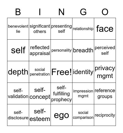 Identity Bingo Card