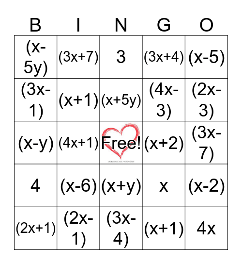 Factor Bingo Card