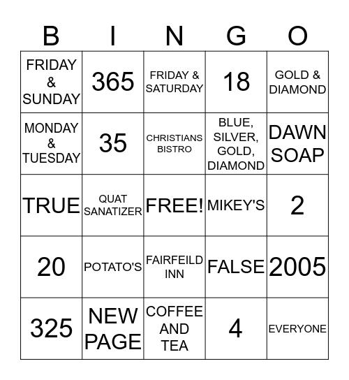 Hampton Inn Bingo Card