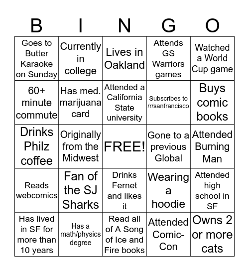 Join the Google Group! https://groups.google.com/group/sfredditors Bingo Card