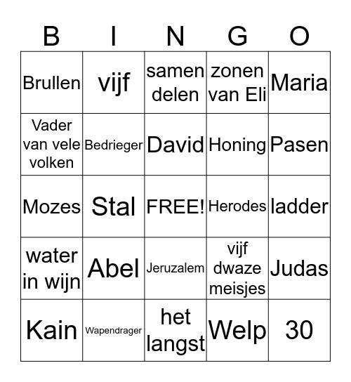 Bijbelse Bingo Card