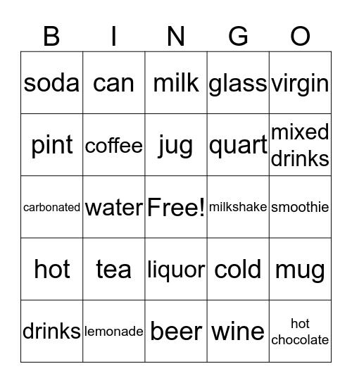 Beverages Bingo Card
