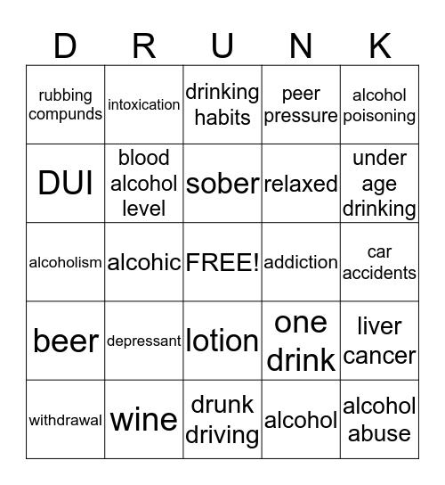 ALCOHOL Bingo Card