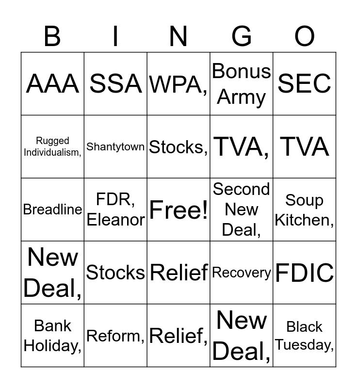 The Great Depression Bingo Card