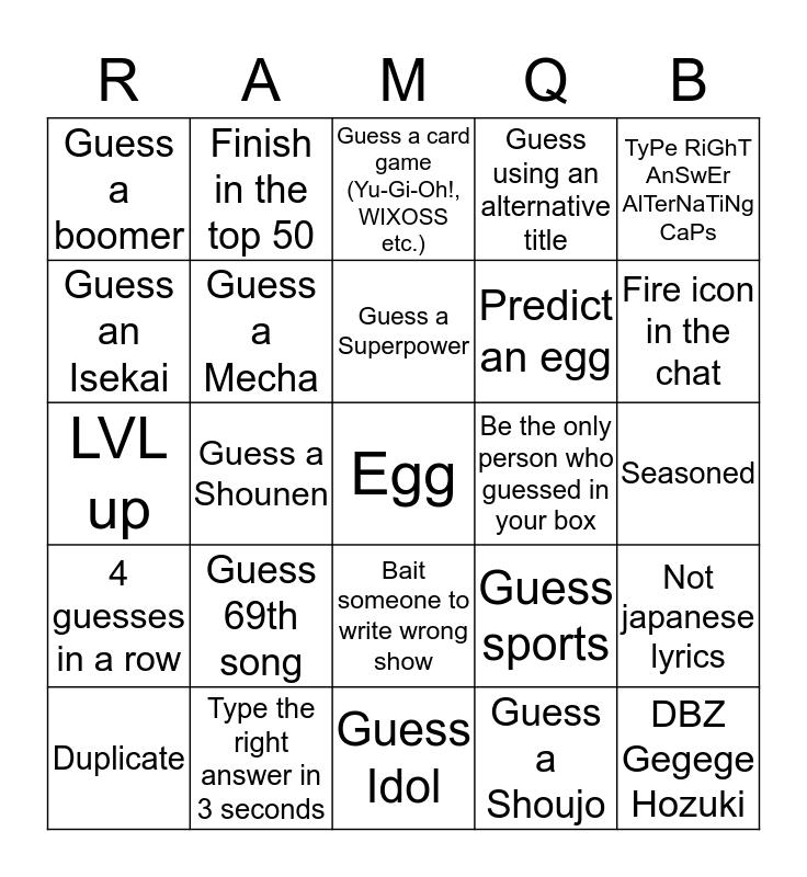 Pounette Card Bingo Card