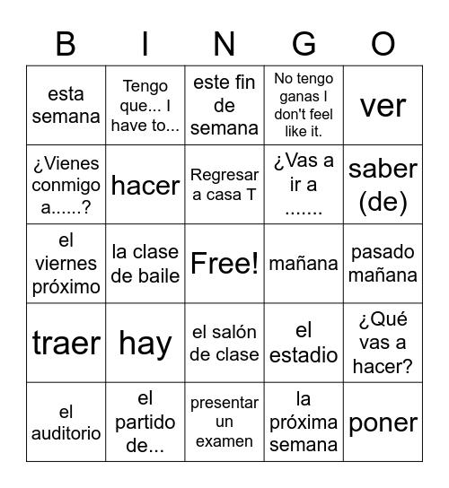 Exprésate 1 Ch.4.2 Bingo Card