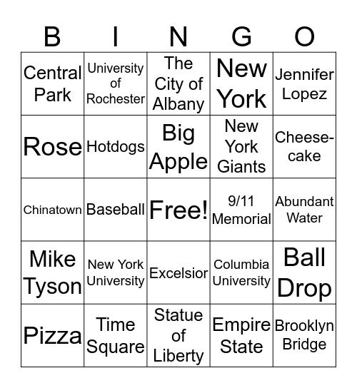 New York  Bingo Card