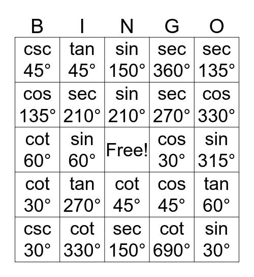 Valentines Day Trig Bingo Card