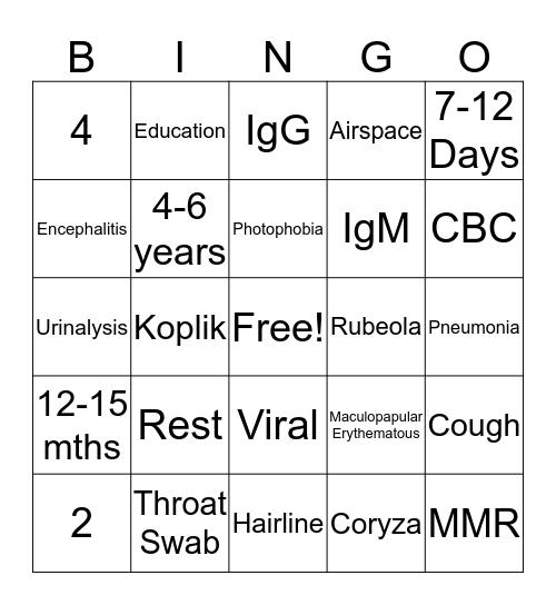 Measles  Bingo Card
