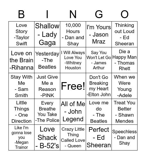 Love Song Bingo Card