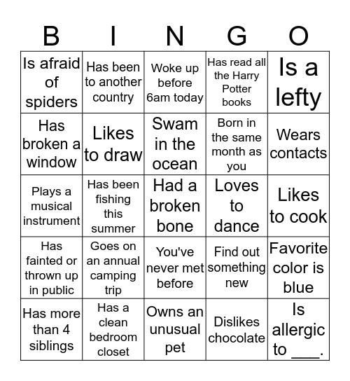 Peacocks Bingo Card