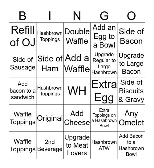 Waffle House Bingo Card