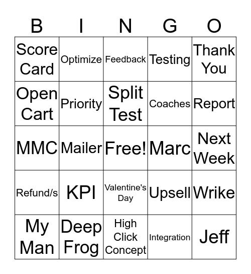 Huddle Bingo Card