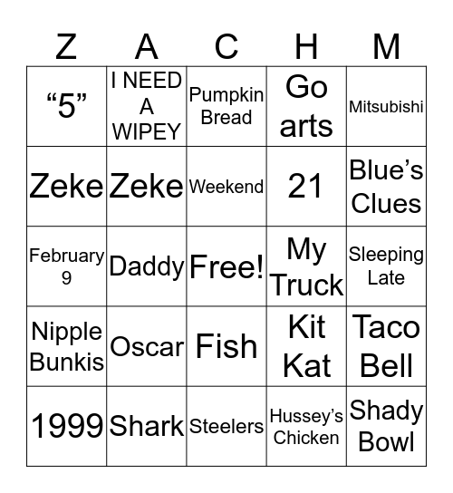 Happy Birthday Zach Bingo Card
