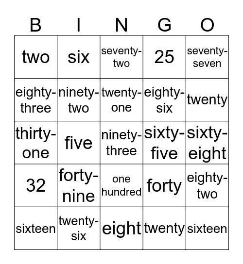Number Word Bingo Card
