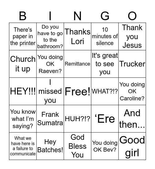 P                U                   T                   R                A Bingo Card