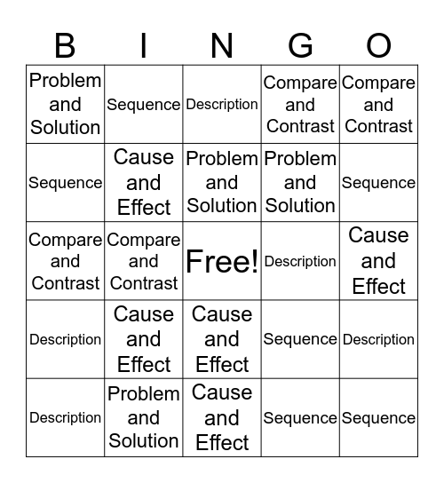 Text Organization Bingo Card