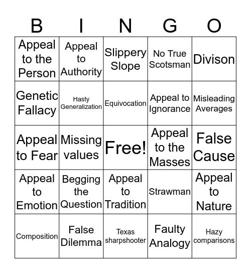 Logical Fallacy Bingo Card