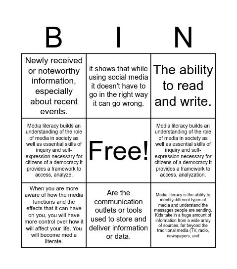 News and Media litracy Bingo Card