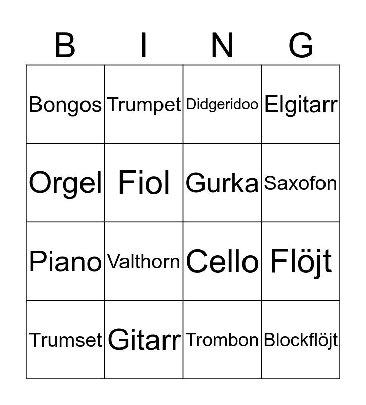 Instrumentbingo! Bingo Card