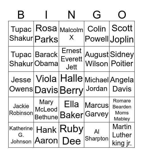 Black History Biography Bingo Card