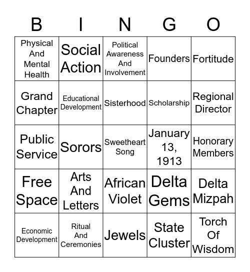 D E L T A Bingo Card
