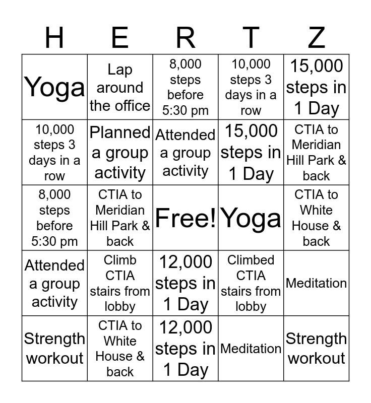 Work Out Till It Hertz Bingo Challenge! Bingo Card