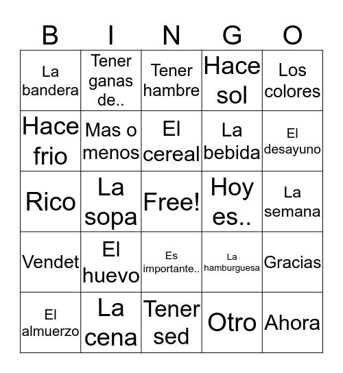 Spanish 1 Vocab 5  Bingo Card
