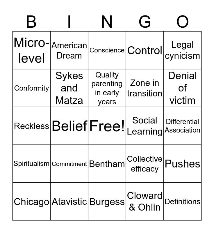 Criminology  Bingo Card