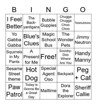 Kids' TV Bingo Card