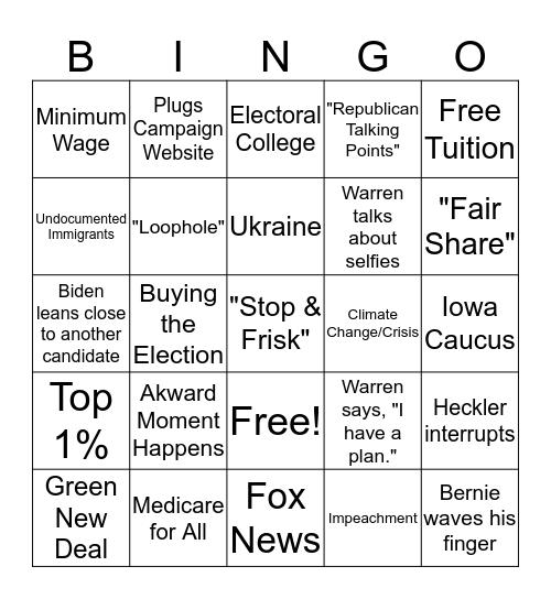 Nevada Democratic Debate 2020 Bingo Card