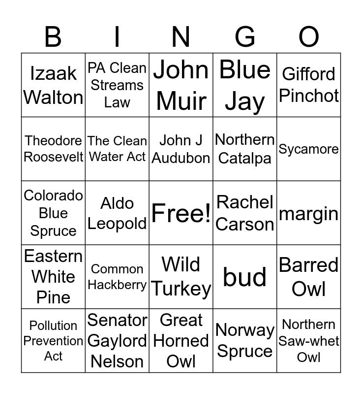 Envirothon Bingo Card