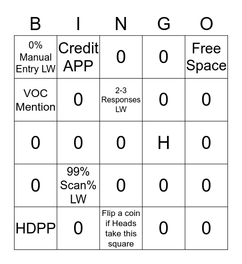 Front End Bingo Card