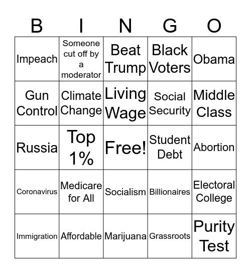 2020 Democratic Debates 2/19/20 Bingo Card