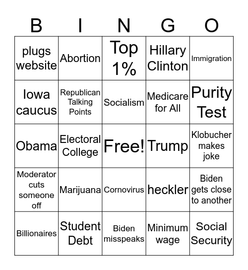 Dem Debate 02/19/20 Bingo Card
